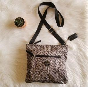 Coach snake print crossbody handbag Grey Black